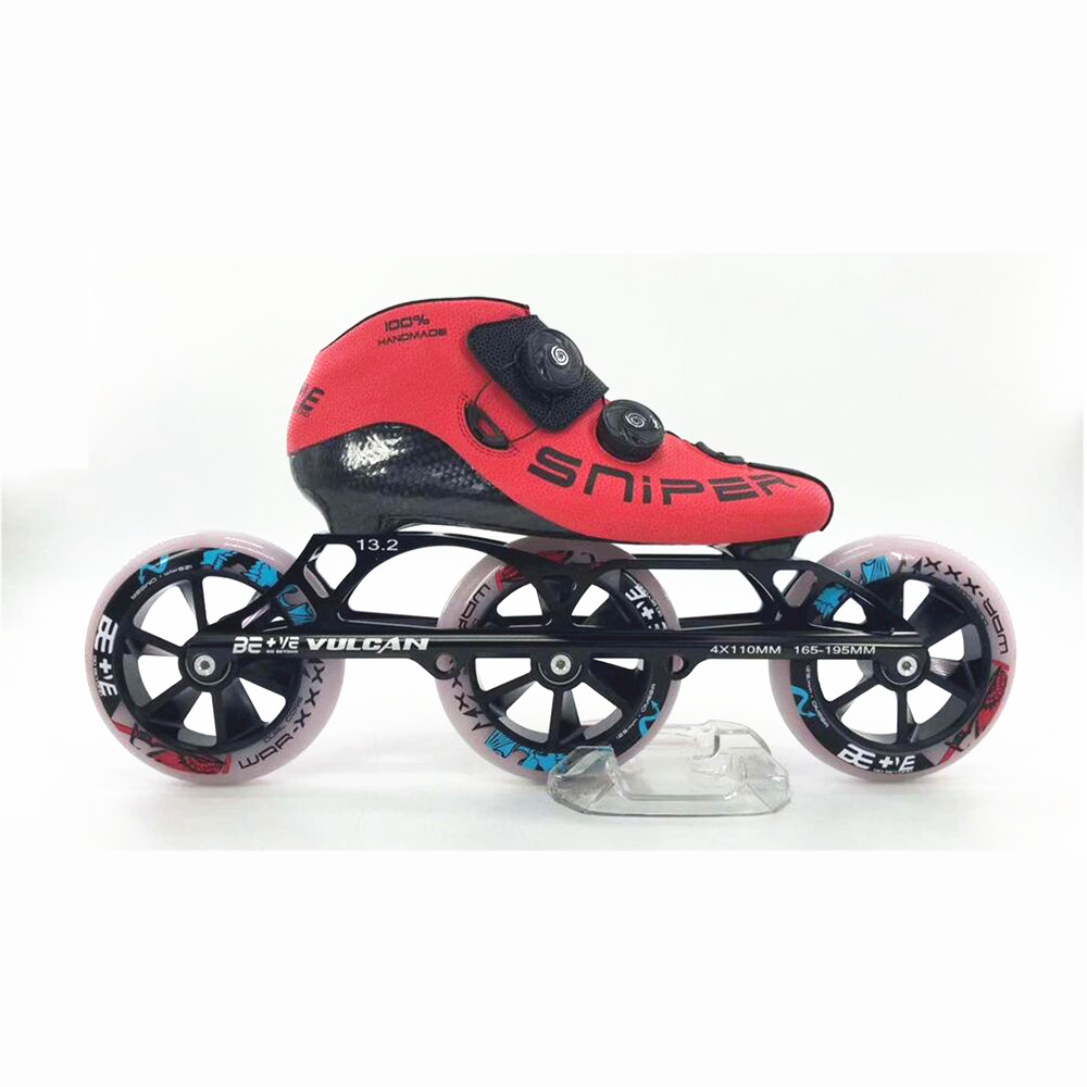 Professinal BE+VE 3 Wheels 3X125mm Race SNIPER Inline Speed Skates Shoes BE Vulcan 125mm Marathon Roller Skates Cado Dual-hard