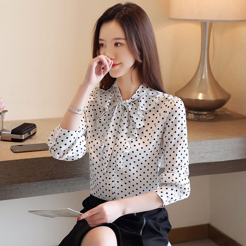 Korean Fashion Women Blouses Shirt Elegant Women V neck Dot Chiffon Shirt Plus Size Womens Tops and Blouses Women Shirts Blouse in Blouses amp Shirts from Women 39 s Clothing