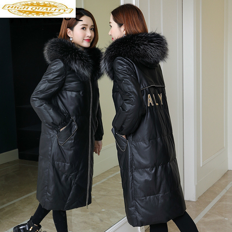 Real Leather Jacket Genuine Sheepskin Coat Duck Down Coat Women Clothes 2020 Raccoon Fur Collar Winter Coat Women B0556 YY2287