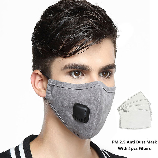 Kpop Cotton mask Anti Dust Pollution Flu Mouth Face Mask with 4pcs Carbon Filter KN95 Respirator PM2.5 Fabric Black face Mask
