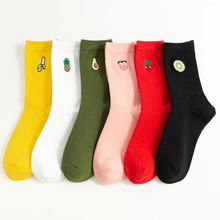 Autumn and winter college wind solid color Japanese embroidered fruit socks avocado cotton