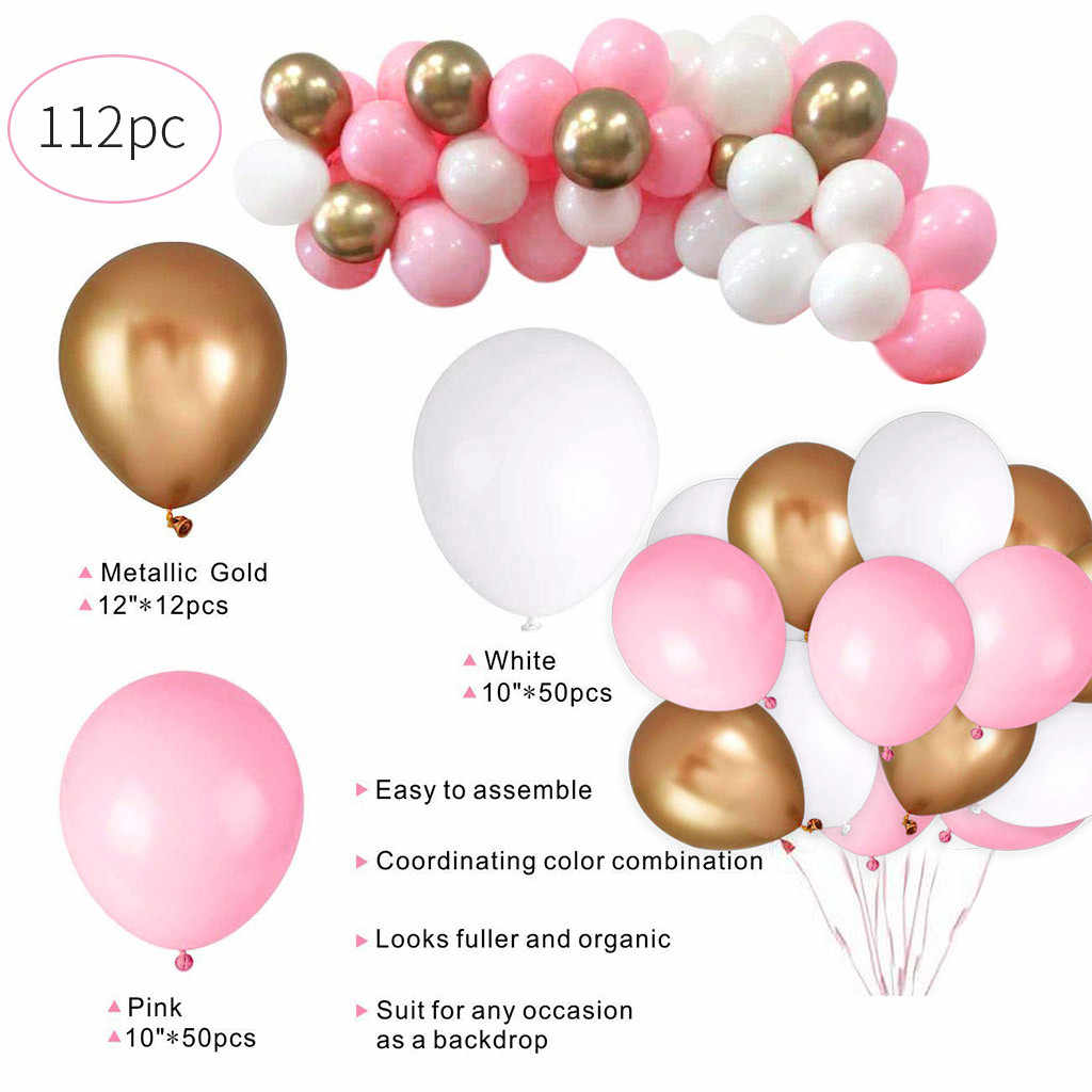 طويلة 112 قطعة عيد ميلاد بالونات الوردي الأبيض الذهب بالونات حزمة لفتاة الطفل دش حزب مهرجان طفل لعب اطفال الزفاف الكرة ديكور