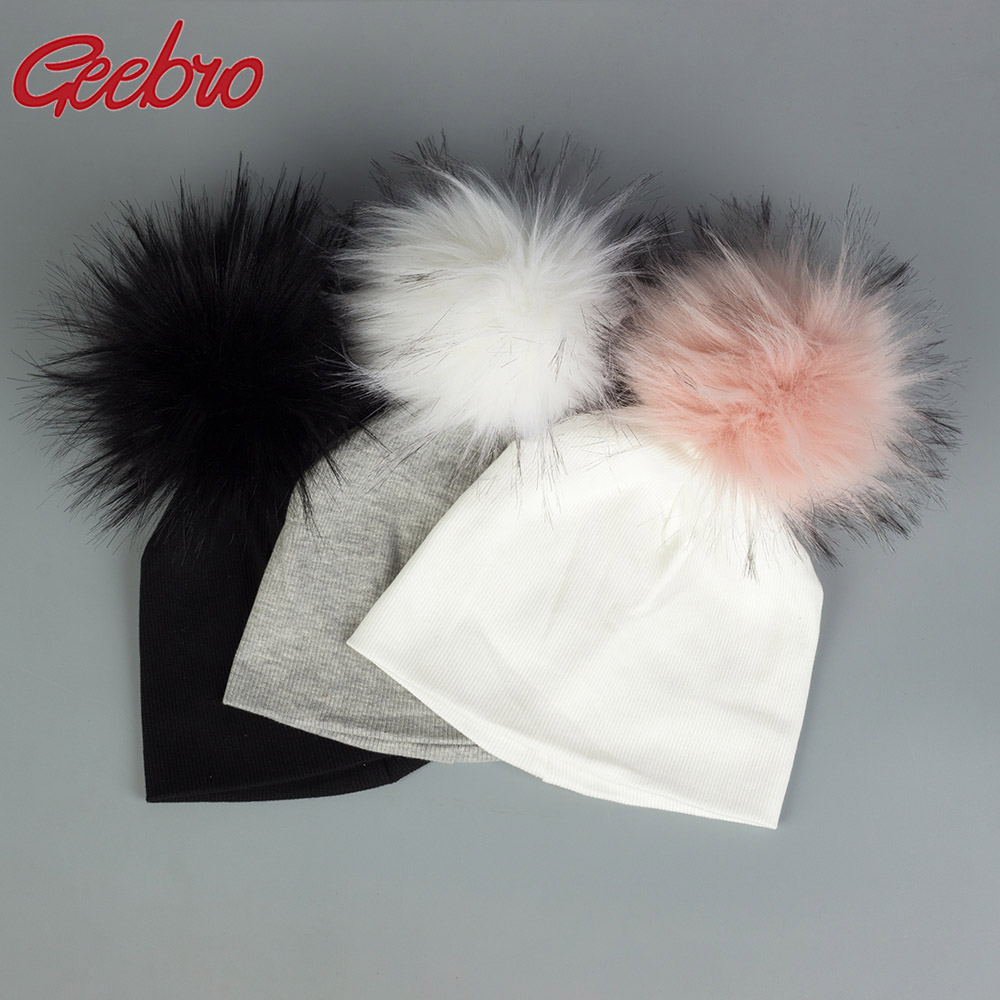 Geebro Newborn Hat Faux Fur Baby Solid Cotton Cap Pompom Bobble Hat For Kids Winter Boys And Girls Caps Children's Hats
