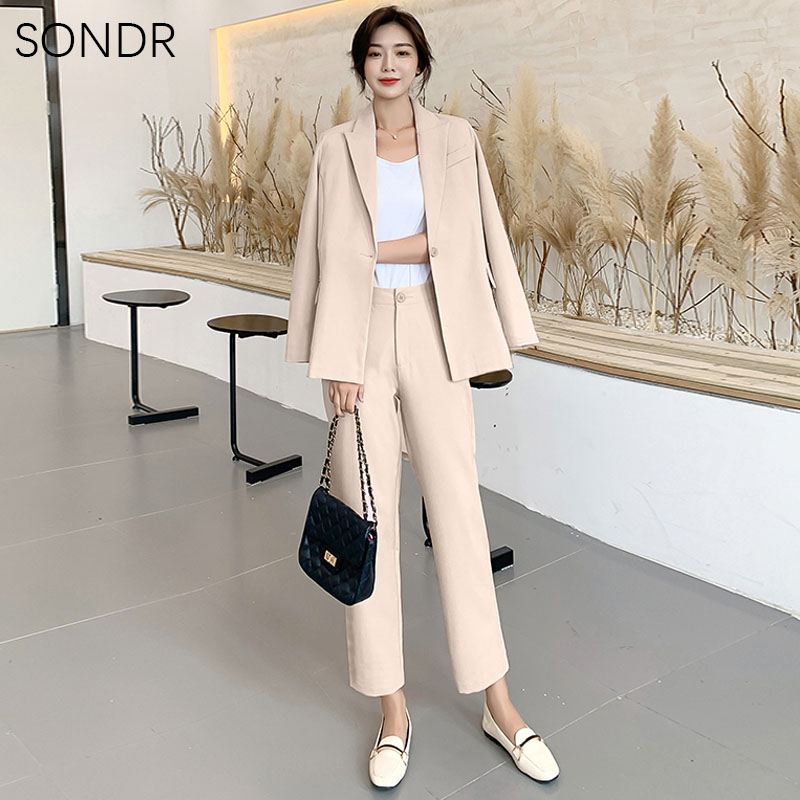 2020 Spring Autumn Office Wear Suits Female Sets Lace Up Pant Notched Blazer Jacket & Pant Korean Solid Color Female Suit Suit