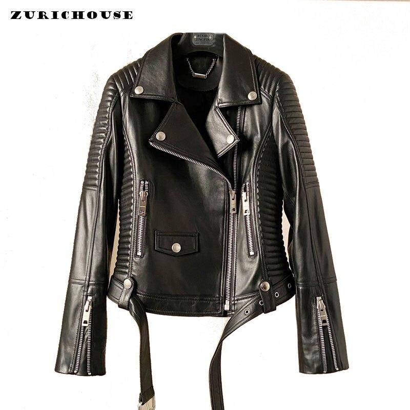 ZURICHOUSE Natural Sheepskin Coat For Women Fashion European Style Top Quality Genuine Leather Women's Moto Biker Zipper Jacket