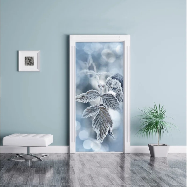 Adhesivo decorativo para puerta, autoadhesiva impresión artística, imagen para dormitorio DIY, Mural de renovación de hojas de hielo, papel tapiz impermeable, nuevo diseño para el hogar