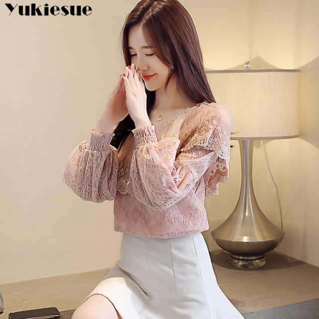 2021 spring elegant hollow out women's shirt blouse for women blusas womens tops and blouses long sleeve lace shirts  plus size 3