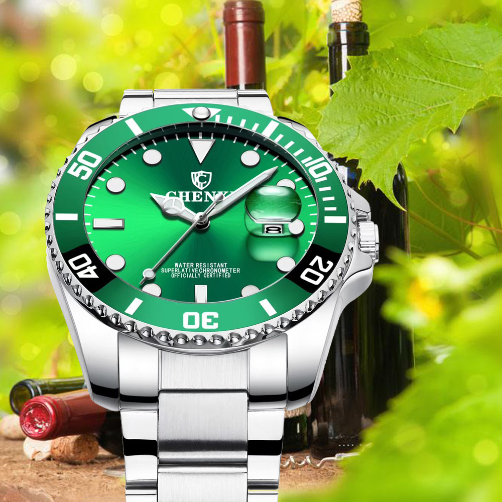 CHENXI Luxury Silver Men Watches Green Color Stainless Steel Japan Movement Waterproof Casual Business Man's Sport Wristwatch