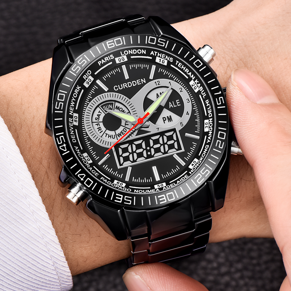 Digital Chronograph Watches Men CURDDEN All-Steel-Strap Men's Fashion Relogio New Japan