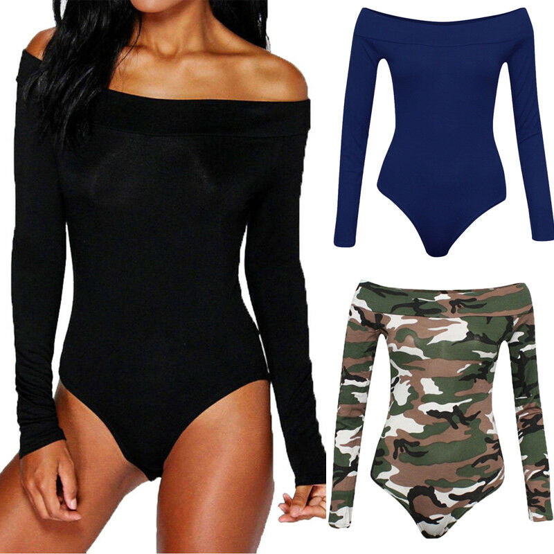 New Fashion Elegant Womens Ladies Off Shoulder Long Sleeve Bodysuit Sexy Leotard Plain Stretch S-XL