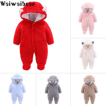 купить Newborn Baby Winter Hoodie Clothes Infant Baby Girls&Boys Warm Climbing Outwear Rompers Thickening Fluff Jumpsuit Solid Color по цене 1030.38 рублей