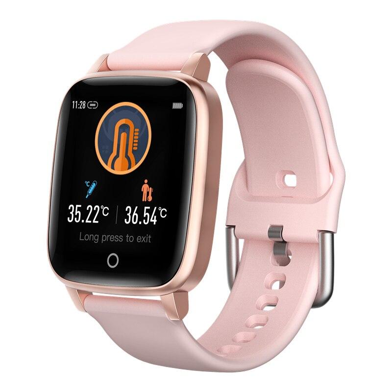 Medição de Temperatura do Corpo Monitor de Freqüência Smartver para Android Ip67 à Prova Relógio Inteligente Homem Mulher Cardíaca Dip67 Água Ios Telefone t1