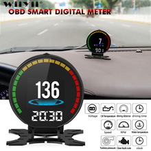 عداد السرعة P15 للسيارة OBD2 HUD شاشة عرض علوي السرعة الزائدة جهاز قياس درجة حرارة الماء بالزيت نظام تحذير التشخيص OBD2 الرقمي
