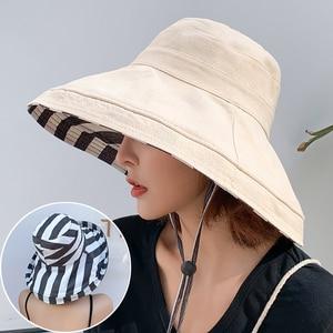 Image 3 - Zebra çizgili güneş şapkası yaz kadın çift taraflı katlanabilir pamuk keten güneş plaj şapkaları büyük geniş Brim güneş koruyucu kadın kova şapka