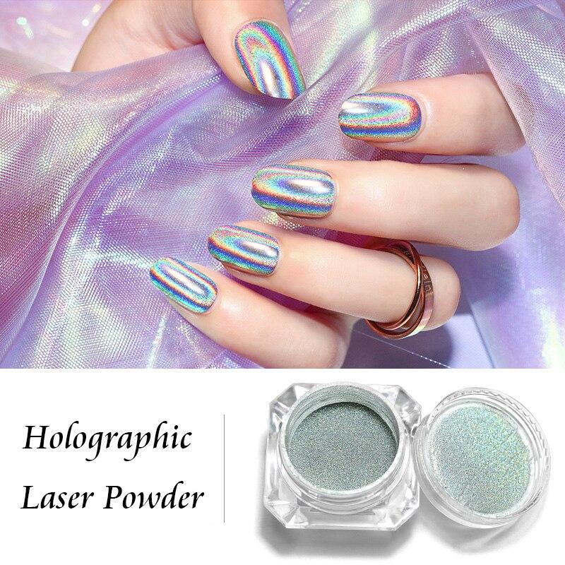 Holographic Laser Powder Rainbow Nail Art Chameleon Glitter Peacock Chrome Powder Pigment Manicure Nail Gel Polish Glitter Dust