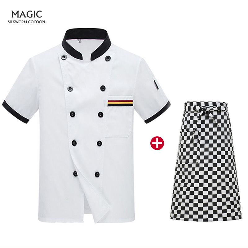 Double-breasted Chef Jacket Overalls New Summer Unisex Food Service Restaurant Kitchen Hotel Solid Color Overalls Shirt+apron
