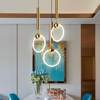 Nordic macaron modern simple circular dining room bedroom living room LED single head personality creative tmeal gold chandelier