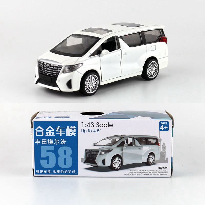 1:43 Scale Toyota Alphard MPV Alloy Pull-back Car Diecast Metal Model Car For Collection Friend Children Gift