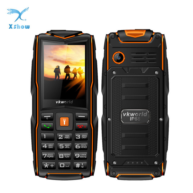 "VKworld New Stone V3 3 SIM Card Slots Cell phones IP68 Waterproof FlashLight 2.4"" 3000mAh Battery 2MP GSM English Keyboard Phone"