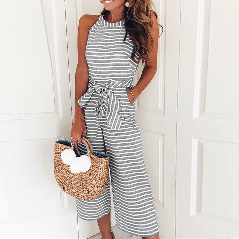 Women Jumpsuit Sexy Striped Sleeveless Loose Rompers Elegant Lace Up Bowknot O-neck Halter Office Female Overalls Plus Size