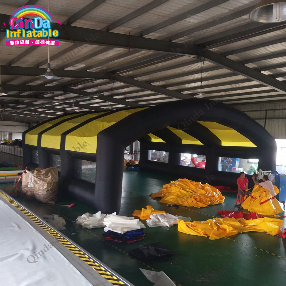 Free air blower giant inflatable tunnel <font><b>tent</b></font> ,outdoor inflatable <font><b>car</b></font> <font><b>garage</b></font> <font><b>tent</b></font> with canopy image
