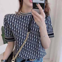 2021 summer new high quality ice silk round neck T-shirt with jacquard style and thin age reducing Knitted Top