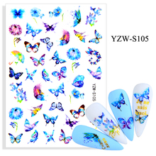 3D Stickers for Nails Self-adhesive Blue Butterfly Nail Art Decorations Dandelion Flowers