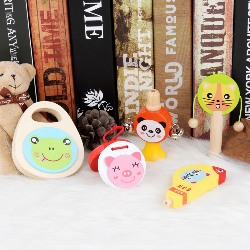Wooden musical instrument set 5PCS toys for toddlers Maracas whistle clappers infant toys wooden rattle baby toys 13-24 months