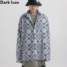 Dark Icon Bandana Shirt Men Full Printed Paisly Hip Hop Shirts Streetwear Mens Street for 2Colors