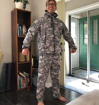 TAD Tactical Jackets Men Soft Shell Hiking Jacket Sets Army Waterproof Camo Hunting Clothes Shark Skin Military Jacket + Pants 3