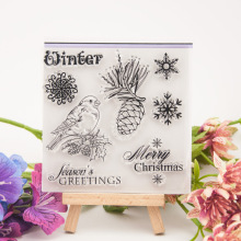 Christmas Clear stamps Transparent Silicone Seal for DIY Scrapbooking Bird Snowflake Stamp Card Making Photo Album Decor Crafts