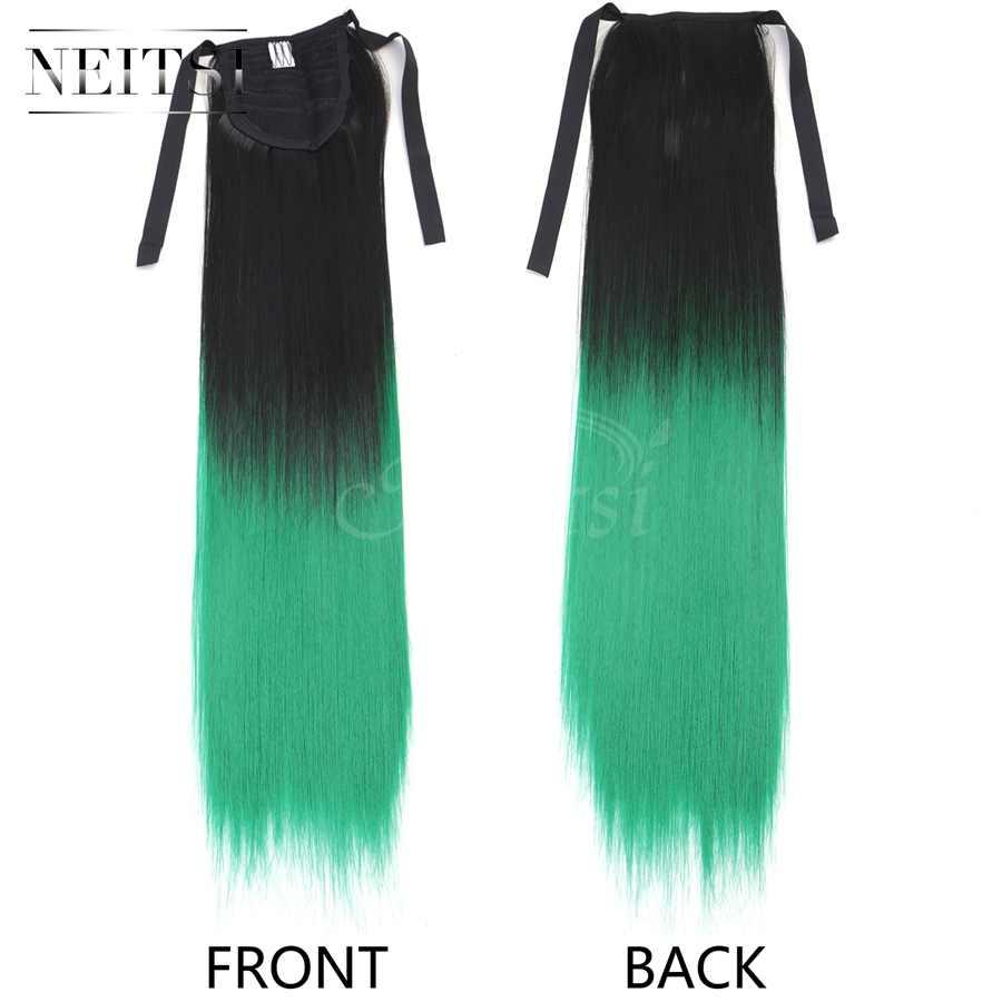 Neitsi 22 ''1 pc Rechte Cabelos Clip In Synthet Koord Haarstukje Lint Paardenstaart T-Groene Kleur Slip Haar extensions