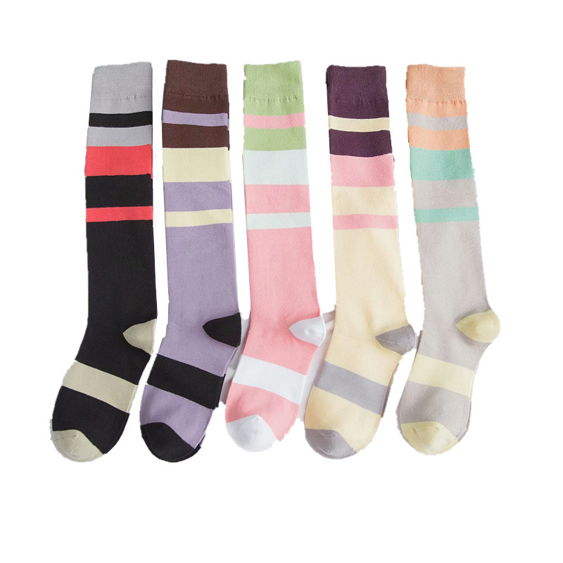 knee socks stocking christmas stuffers Long lingerie female Korean high college stripe sport baseball tide