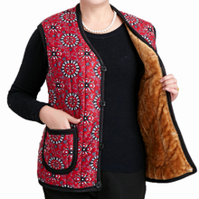 Elderly Women Autumn Winter Fleece Vests Flower Printing Quilted Waistcoat Thicken Warm V-neck Paddded Herringbone Vest Gilet