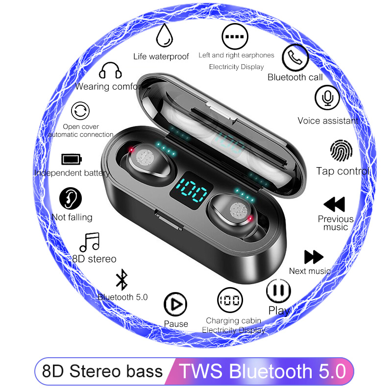 <font><b>8D</b></font> Stereo bass Wireless <font><b>Earphones</b></font> Bluetooth 5.0 Earbuds Touch control Sport Wireless Headphones headset For iPhone Xiaomi Huawei image