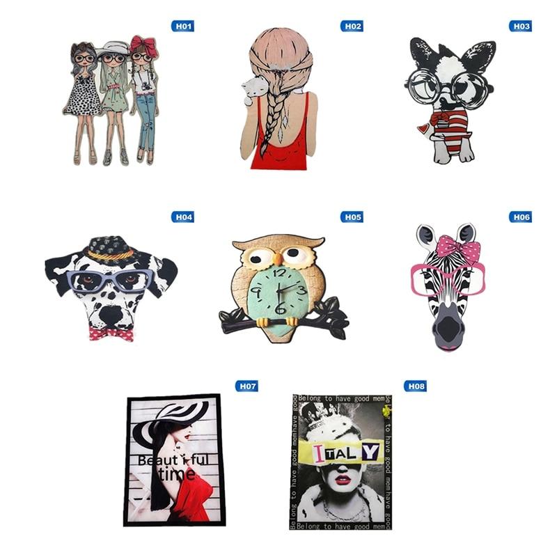 Fashion Girl Beauty Cartoon Animal Ironing Transfer Vinyl Heat Transfer Ironing Sticker T-shirt Clothing Ironing Patch