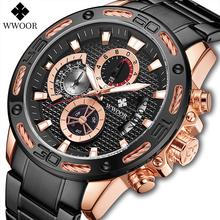 Relogio Masculino WWOOR nowy chronograf sportowy męski zegarek kwarcowy Top marka pełna stalowa duża tarcza wodoodporne męskie zegarki wojskowe tanie tanio 23cm QUARTZ Rohs 5Bar Bransoletka zapięcie CN (pochodzenie) ALLOY 15mm Hardlex Kwarcowe Zegarki Na Rękę Nie pakiet STAINLESS STEEL
