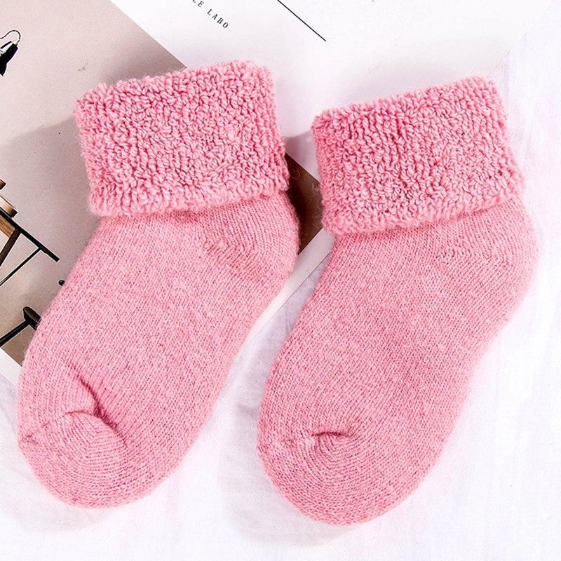 1 Pair Thermal Kids Socks Real Wool Thick Velvet Winter Warm Toddler Newborn Children Socks Baby Girls Boys Socks