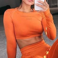 Chemise de Yoga à manches longues, chemise de haut court sans couture avec trou pour le pouce, vêtements de yoga, entraînement, Fitness, gym t Shirts