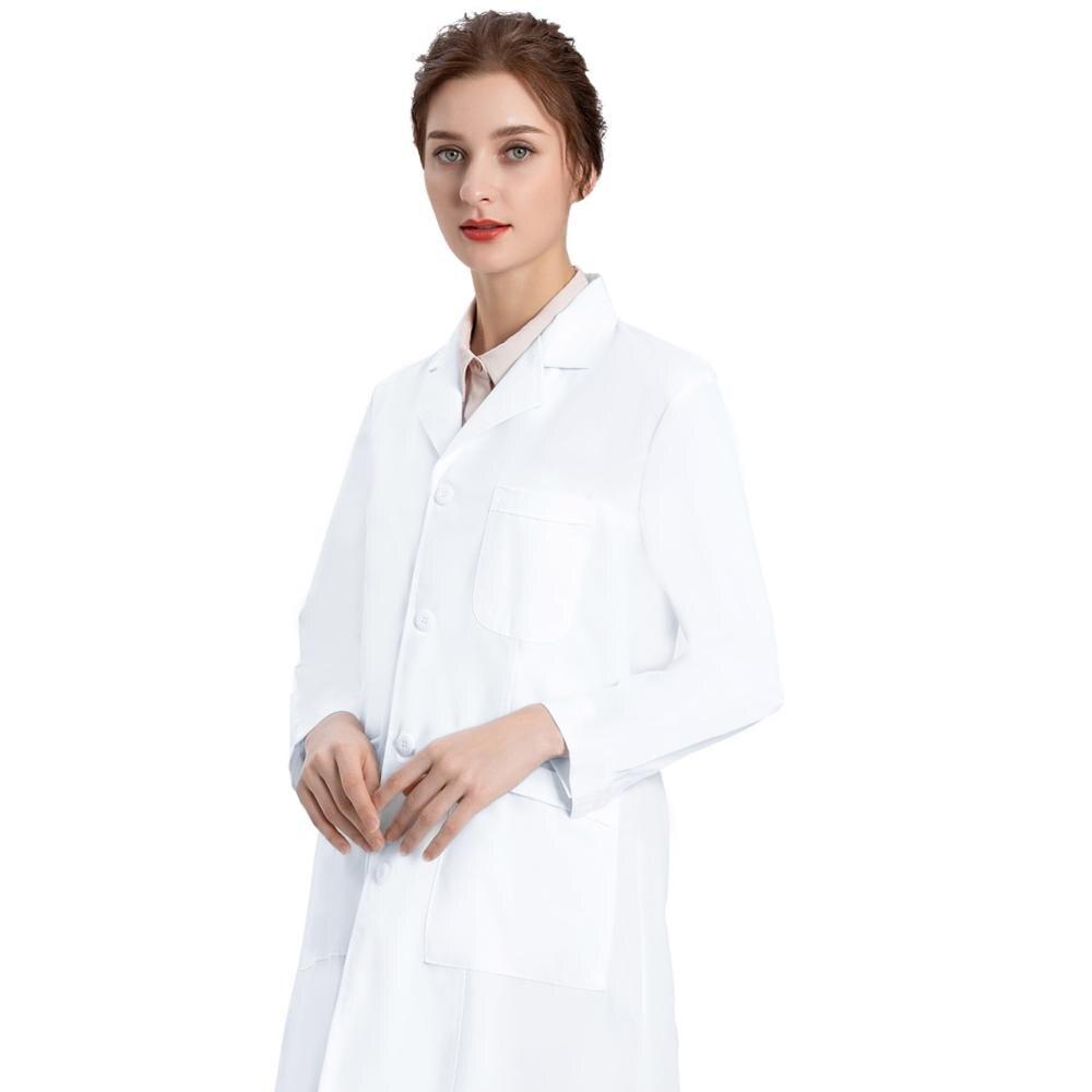 Image 2 - Белое лабораторное пальто для женщин, медсестры и пальто доктора, Профессиональная Медицинская спецодежда униформа, Slim Fit, белое пальто с 3 карманами-in Лабораторные халаты from Новый и особенный в использовании on AliExpress