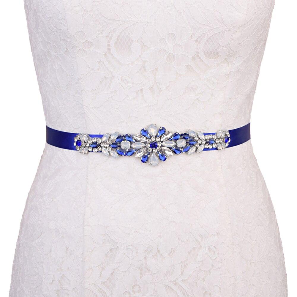Купить с кэшбэком TRiXY S424 Sparkly Royal Blue Wedding Belt Rhinestone Crystal Bridal Belt Jewelry Belt Bridesmaid Decorative Belt Diamond Belt