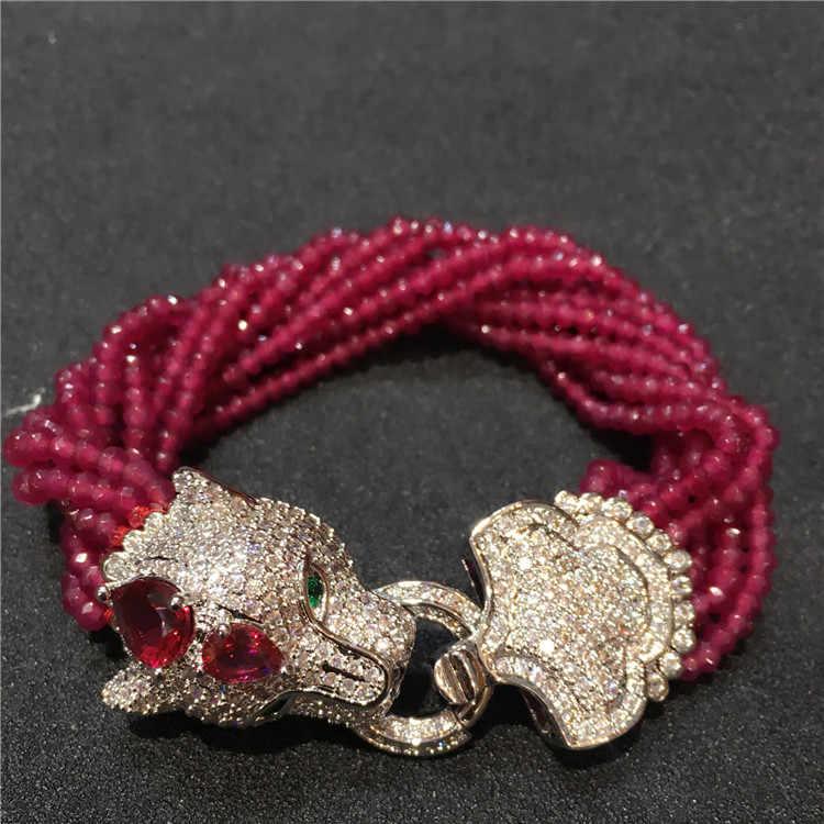 หัวเสือดาว Micro Inlay zircon clasp หยกสีม่วงหลายแถวสร้อยข้อมือของขวัญ
