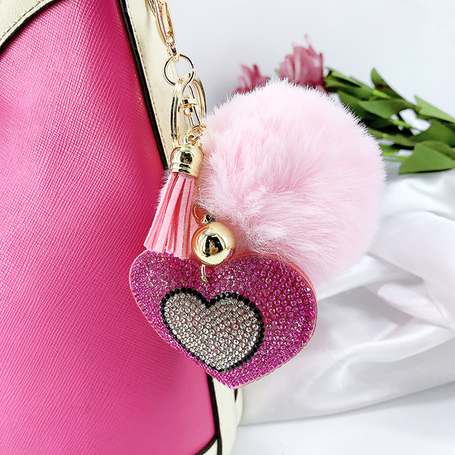 Pompom Keychain Rhinestone Heart Women's Bags Key Ring Handmade Accrssories Keychains Pendants Charming Suspension Decoration 4