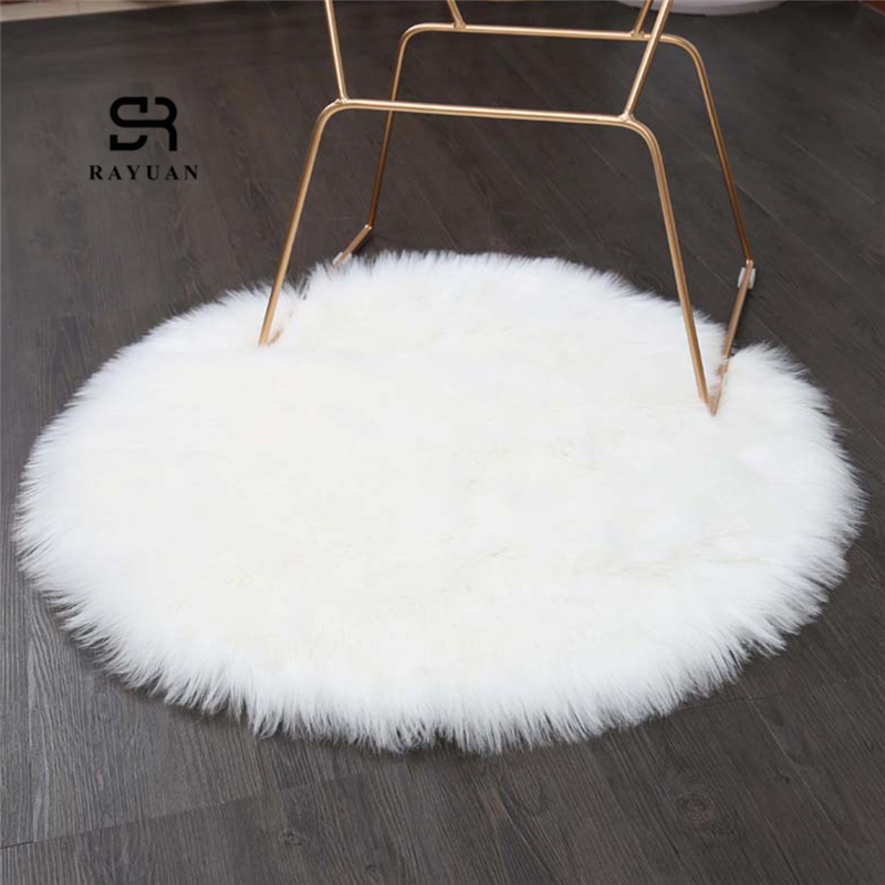 RAYUAN Luxury Round White Sheepskin Hairy Carpet Faux Mat Seat Pad Fur Plain Fluffy Soft Area Rug Tapetes 30-140cm