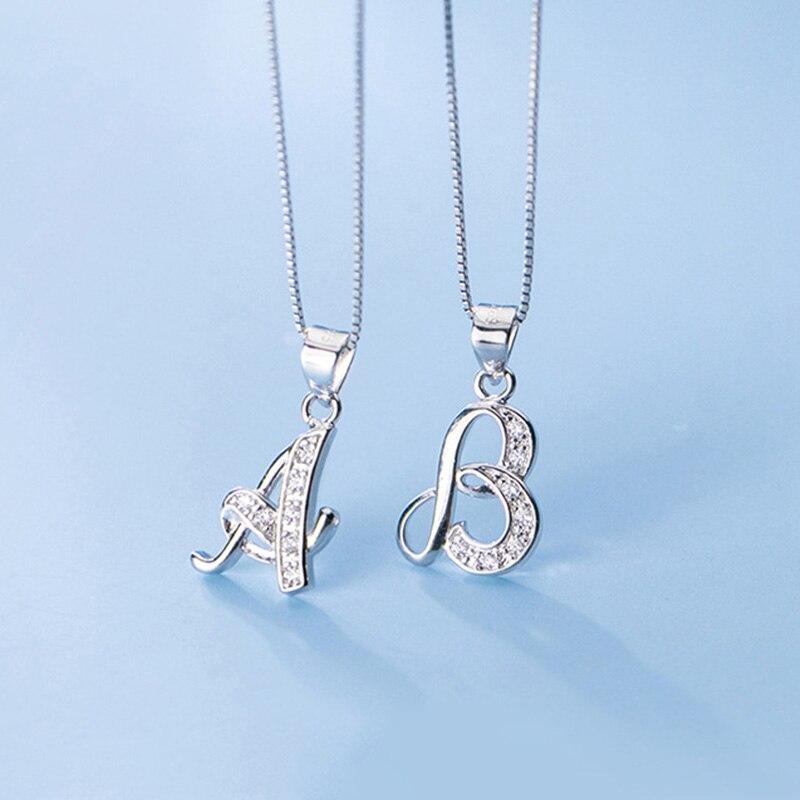 Trust davis réel 925 en argent Sterling Simple 26 lettre brillant pendentif CZ bricolage accessoires pour les femmes de mariage Fine S25 bijoux DA1990 5
