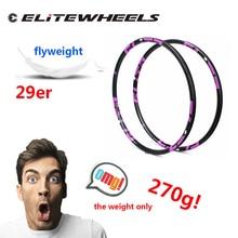 Elitewheels 270グラムのみ29er mtbカーボンリム28 32 36h 27*23ミリメートルxcクロスカントリーマウンテンバイクホイールセット3 18k 12 18k udマット光沢のある