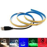 DC5V Dimmbar Flexible COB Streifen LED Band 5V Powered USB LED Streifen Lampe mit Fernbedienung Dimmer Bunte Dekorative licht