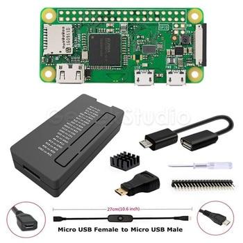 Black Case Shell Cover Enclosure Kit with Heatsink, USB Cable, Mini HDMI Adapter,GPIO Connector for Respberry Pi Zero W