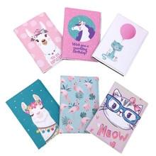 KANDRA Cartoon Passport Cover Cutie Cats Alpaca Flamingos Print PU Leather Travel Passport Holder Case Card ID Holders for Girls tassel detail alpaca cartoon print pu wallet