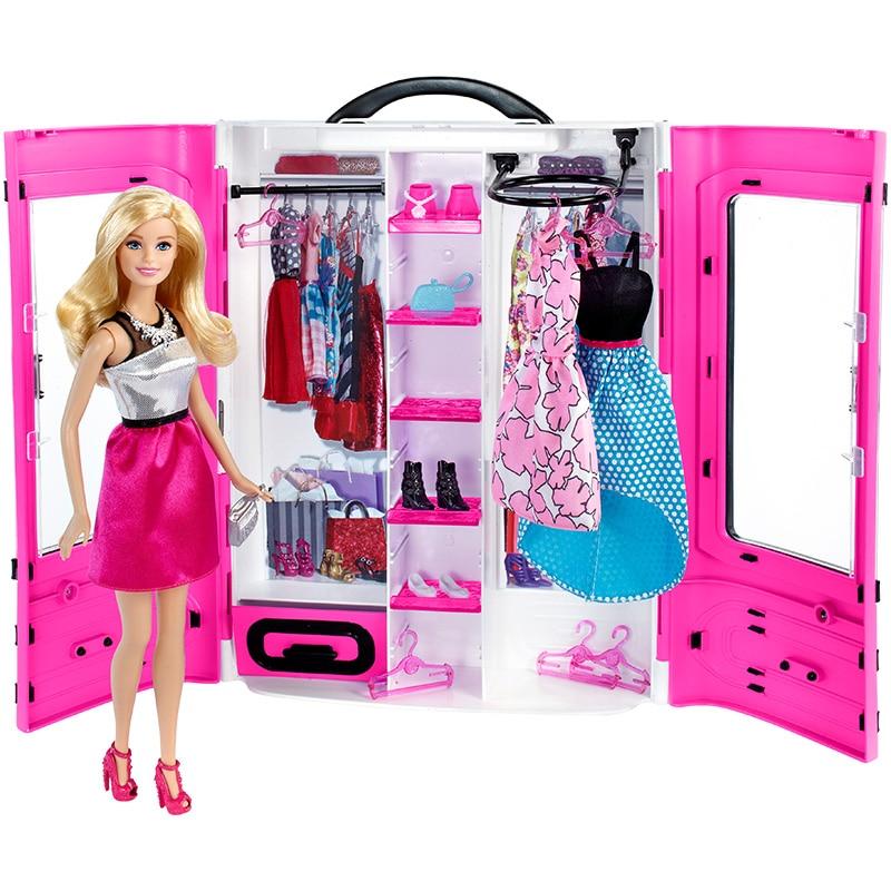 Original Barbie Puppe Traum Kleiderschrank Tote Tasche Mädchen Prinzessin Ändern Kleid Geburtstag Geschenk kinder Spielzeug DPP72
